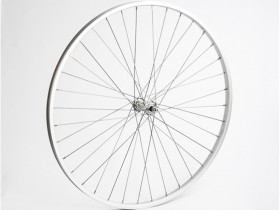 Forhjul med Dobbelbundet Aluminiumsfælg og Nippelforstærkning 700C Sølv