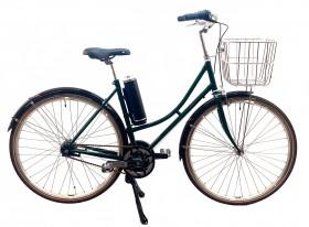 Håndbygget EL-Cykel med Centermotor, 7 Shimano Gear, Skærme, Aluminiumskurv og Dobbelt Støtteben