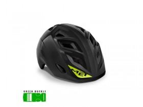 MET Genio Cykelhjelm Sort - Green Buckle - 52-57 CM